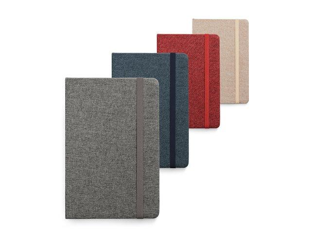 Caderno capa dura. Tecido em poliéster - Modelo INF 93591   13 x 21
