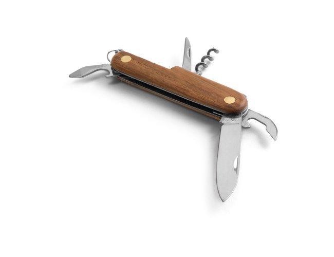 Canivete multifunções em aço inox e madeira MOdelo INF 94159