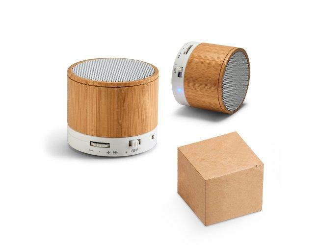 Caixa de som com microfone, Bambu, Bluetooth Modelo INF 97256