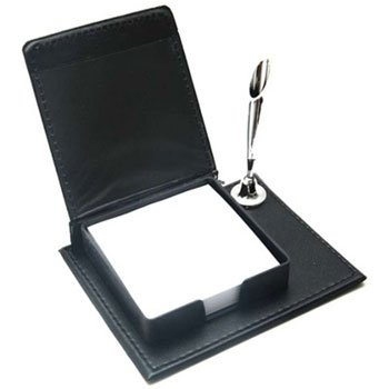 Bloco de anotações de couro sintético e porta caneta Modelo INF 7386