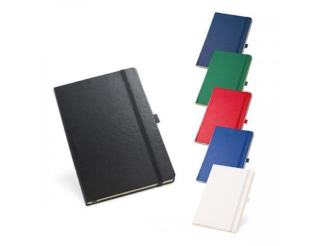 Caderno capa dura. Com porta esferográfica,  - Modelo INF 93491