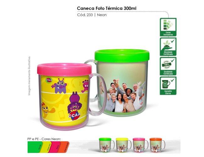 Caneca Foto Térmica 300ml Neon Modelo INF 233