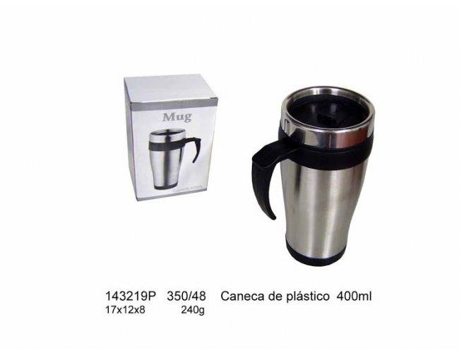 Caneca de Plástico e metal - Modelo INF 143219P    400ml