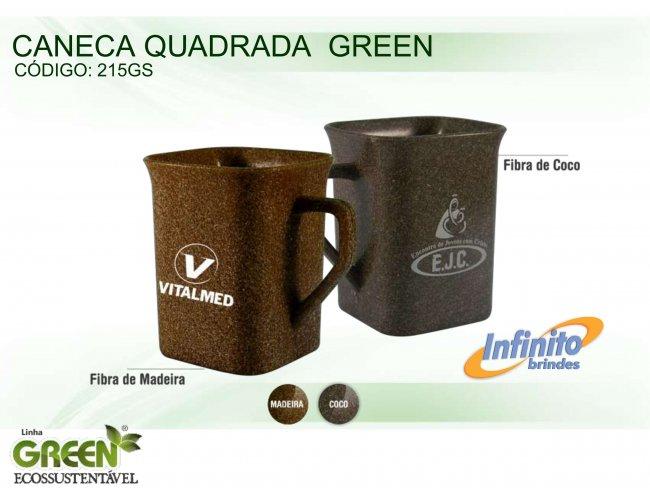 CANECA PLÁSTICA QUADRADA GREEN (250 ml) - INF G0215