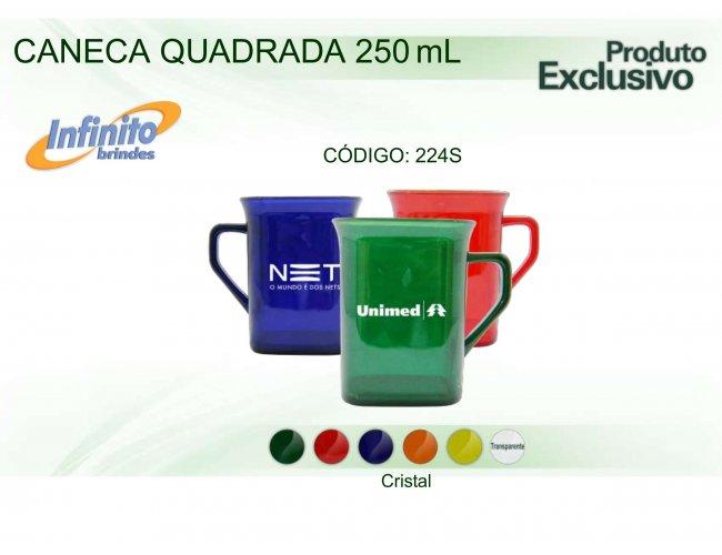 CANECA PLÁSTICA QUADRADA CRISTAL (250 ml) - INF 0224