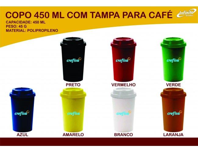Copo Café com Tampa 450ml - MODELO INF 0007G