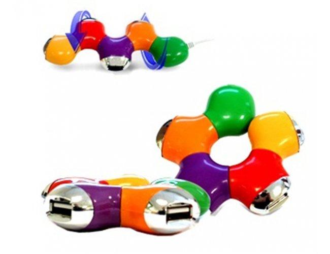 HUB FLEXÍVEL COM 4 PORTAS USB - INF 3504 formato Estrela