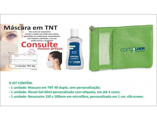 Kit Mascara, Necessaire e Álcool gel - Modelo INF 296