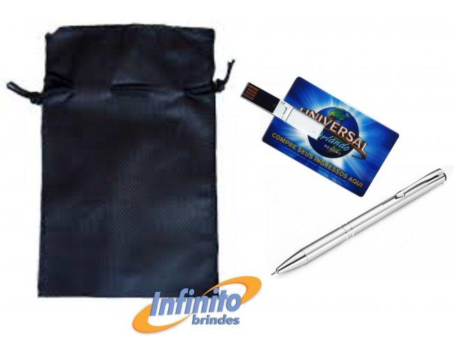 Kit Caneta e Pen drive Card - Modelo INF 10301