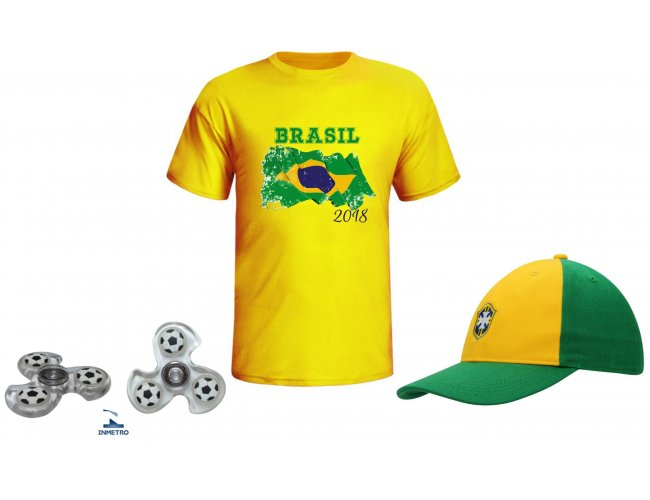 Kit copa do Mundo: camiseta, boné e Hand Spinner - Modelo INF 1010