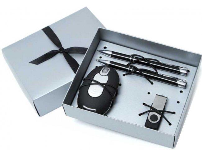 Kit escritório - Caneta, Lapiseira, Mouse e Pen Drive - Modelo INF 10370