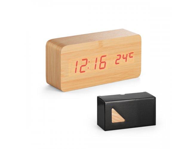 Relógio. MDF. Com calendário, alarme e termómetro.  - Modelo INF 97390