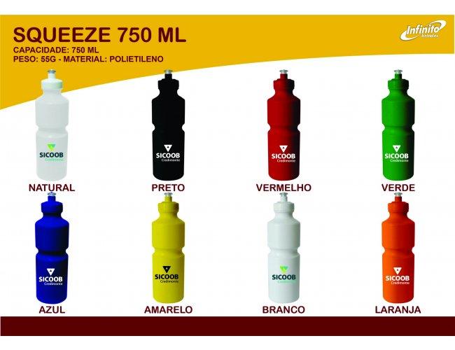 Squeeze Plástico 750ml - Modelo INF 0018R