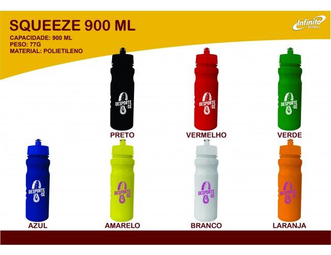 Squeeze Plástico 900ml - Modelo INF 0019S